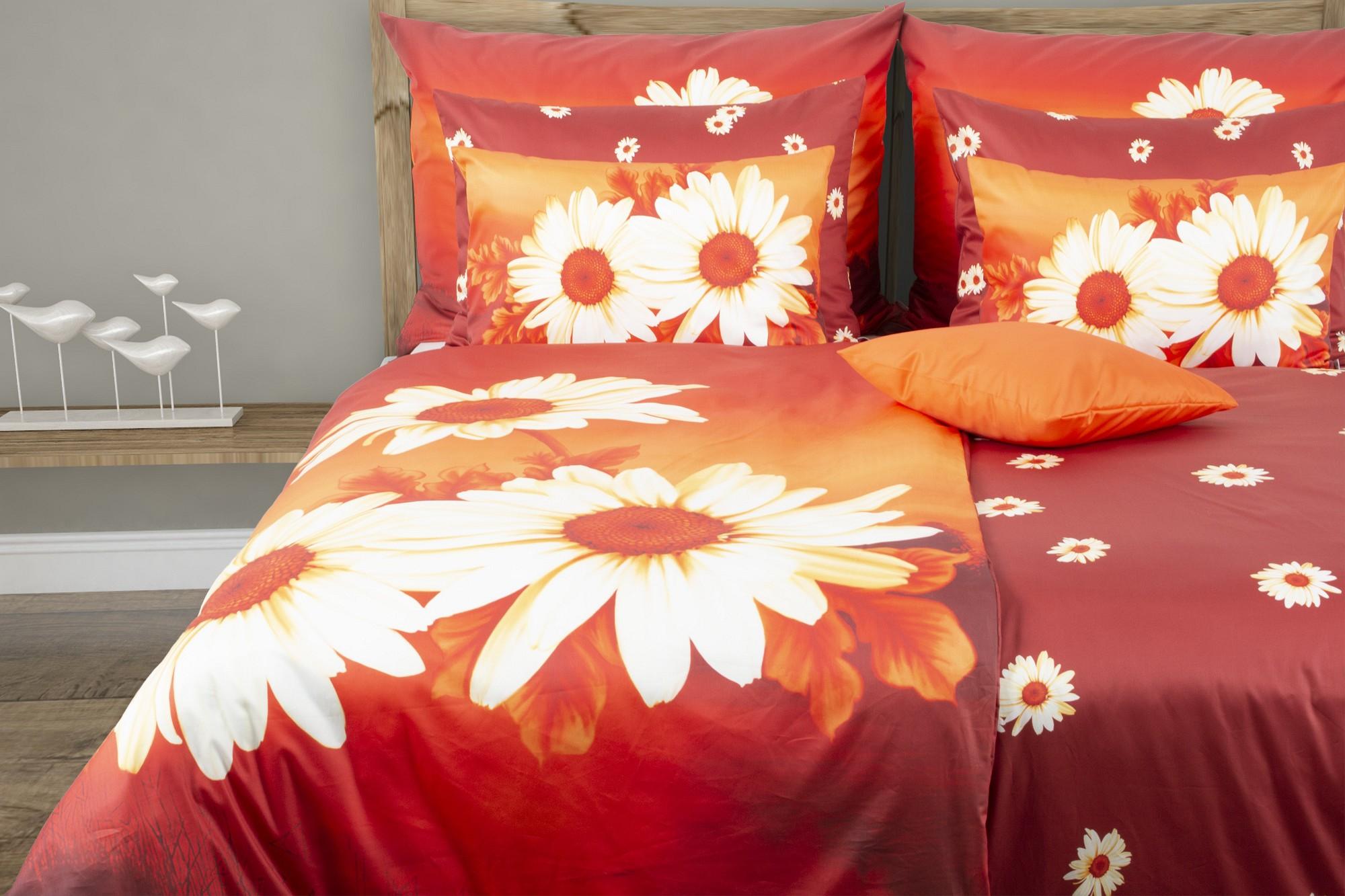 Narancs ágyneműhuzat virágmintával Margareta | Glamonde
